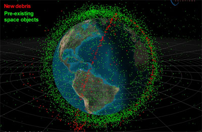 Orbital debris illustration