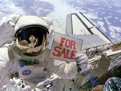 Shuttle 'for sale' sign