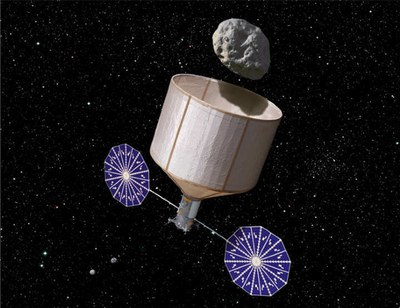 Asteroid retrieval mission illustration